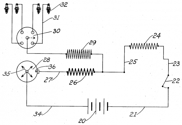 schematic diagram of Kettering distributor ignition system